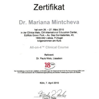 Dr. Mariana Mintcheva: Zertifikat All on 4