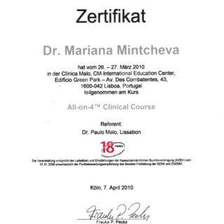 Dr. Mariana Mintcheva: Zertifikat All on 4