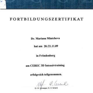 Dr. Mariana Mintcheva: Zertifikat Cerec 3D