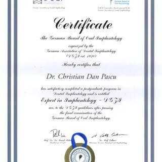 Dr. Mariana Mintcheva: Zertifikat Expert of Implantology