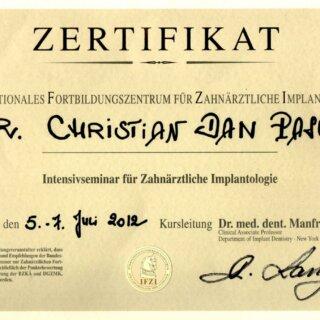 Dr. Mariana Mintcheva: Zertifikat IFZI