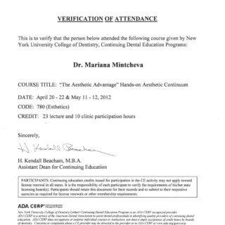 Dr. Mariana Mintcheva: Zertifikat NYU