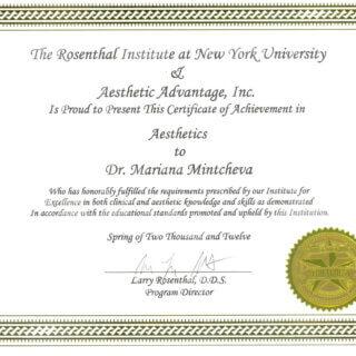 Dr. Mariana Mintcheva: Zertifikat Rosenthal Institut