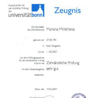 Dr. Mariana Mintcheva: Zertifikat