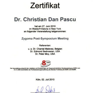 Dr. Christian Pacu: Zertifikat Zygoma